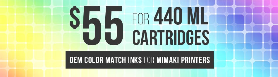 $55 for for 440ml cartridges! OEM color match inks for Mimaki printers - Request a sample
