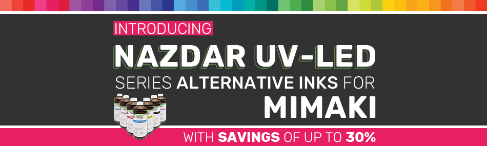 Save 30% Over OEM Inks! Nazdar OEM color match inks for Mimaki printers
