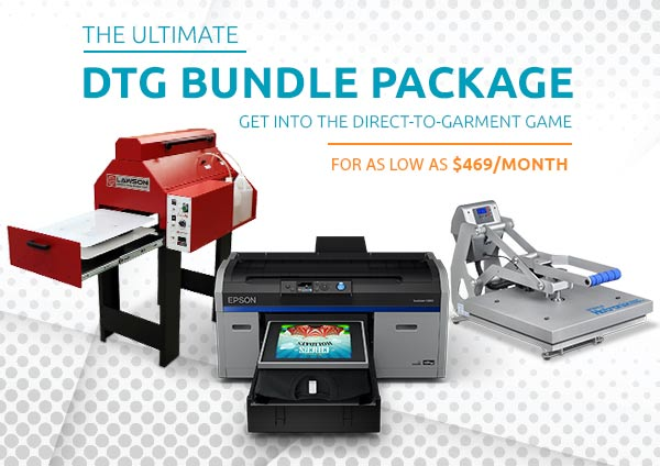 The Ultimate DTG Bundle Package! Epson F2100 Printer, Pretreat machine, and heatpress. Get into Direct-to-Garment game for as low as $485/month