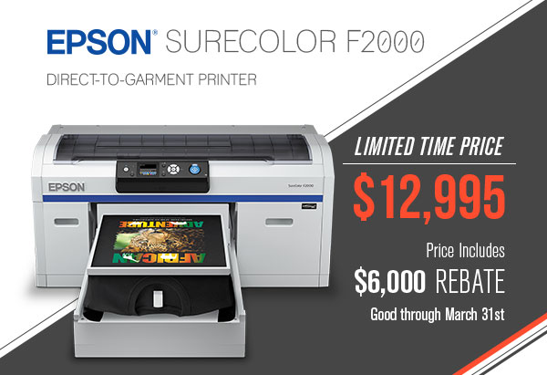 be033198 Epson F2000 DTG Printer - Limited Time Promotion - Nazdar SourceOne